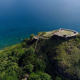 Fort Rodney looking over the Pigeon Island reef system.