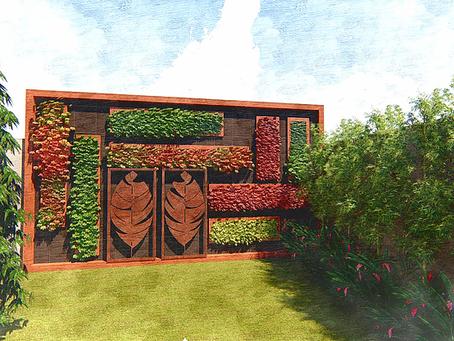 Jardim Vertical - Projeto de Parede Verde com arte em Aço Corten e Madeira Plástica
