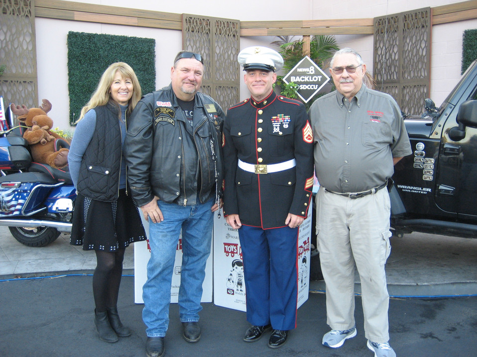 Sheryl from DMTC, Mike from El Cajo HOG, SSgt Hoggard from 4th Tank Bn, and Ron from San Diego Jeep Club