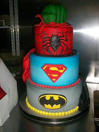 Tiered Super Hero Cake Jpg
