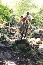 Tackling terrain at a race in the 90s