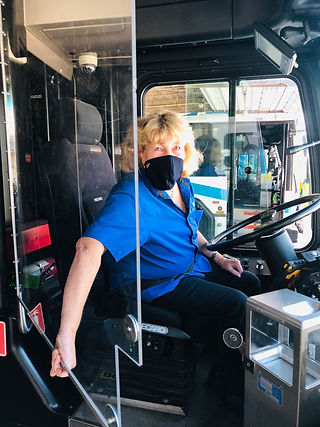 Bus driver with mask