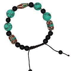 Bracelet turquoise corail et agate noire
