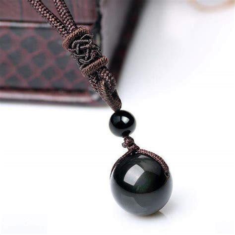 Collier sphère obsidienne oeil céleste