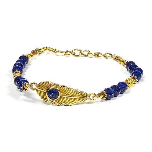 Bracelet lapis lazuli avec plume