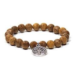 Bracelet/mala en bois wengé avec arbre de vie