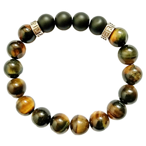 Bracelet homme œil de tigre&onyx