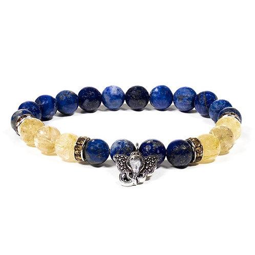 Bracelet lapis-lazuli et quartz ruile Ganesh