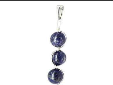 Pendentif lapis lazuli 3 boules