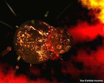 L'impct de Théia sur la Terre, formation de la Lune.
