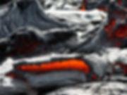 Pahoehoe refroidi avec cordes et draperies