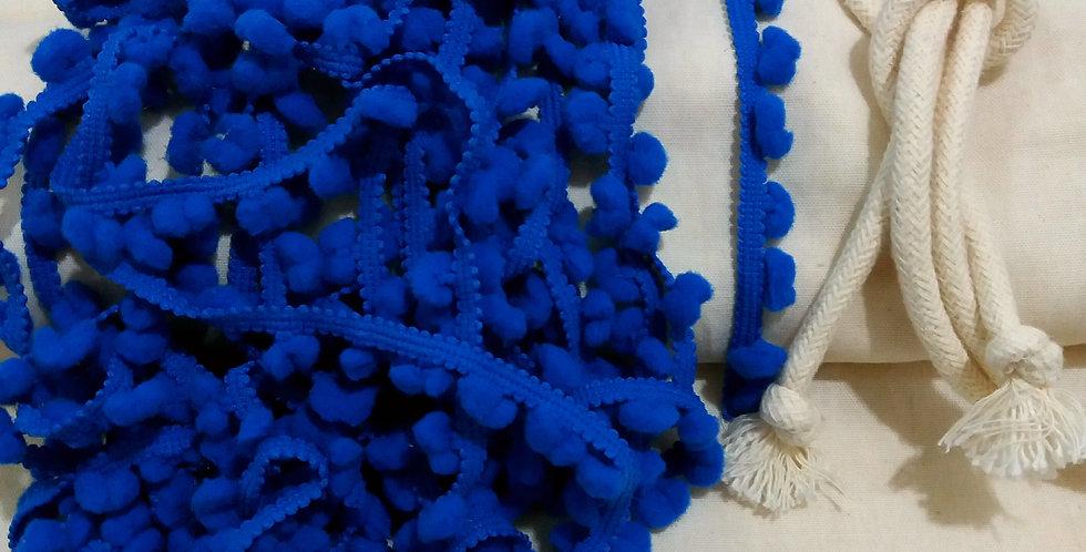 Rede Baby - Crua com Pompons Azul Royal