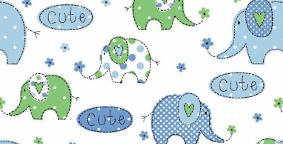 Lençol - Elefante Azul e Verde