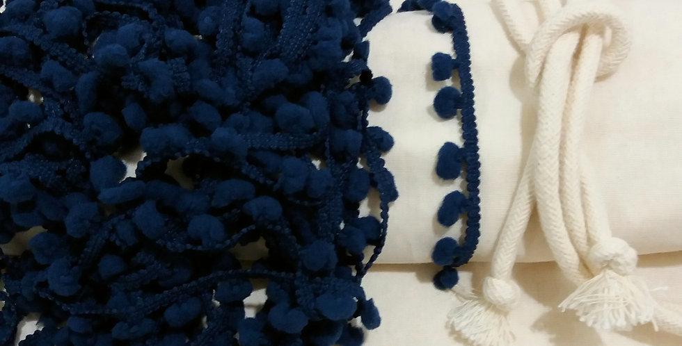 Rede Baby - Crua com Pompons Azul Marinho