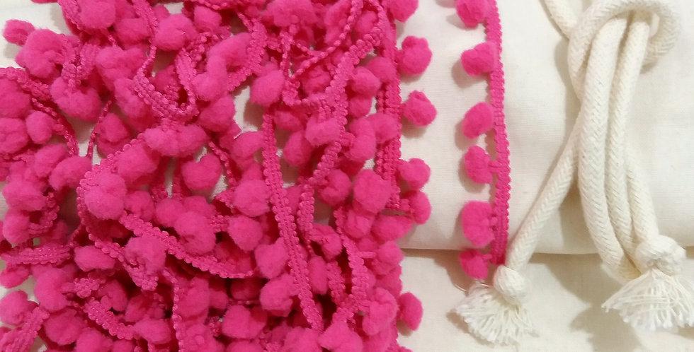 Rede Baby - Crua com Pompons Rosa Pink