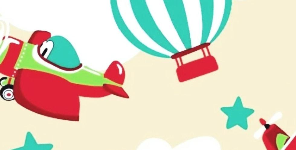Lençol - Aviões e Balão Bege