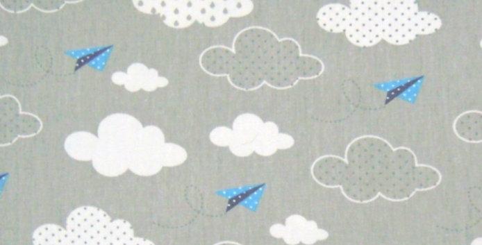 Lençol - Nuvem Cinza e Aviãozinho