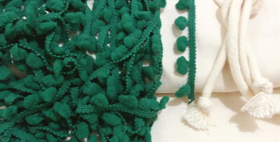 Rede Baby - Crua com Pompons Verde Bandeira