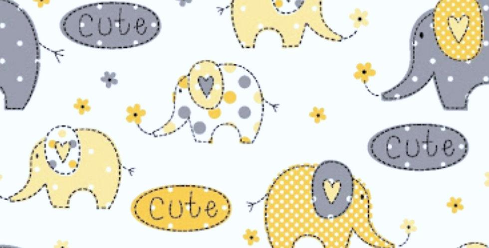Lençol - Elefante Amarelo e Cinza