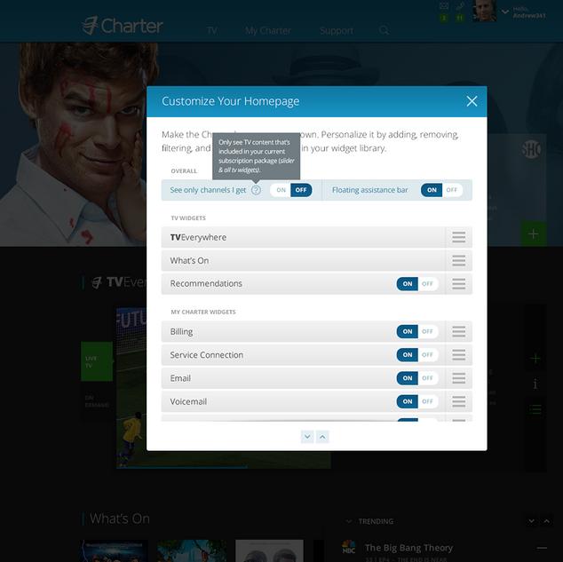 Spectrum Homepage User Configuration