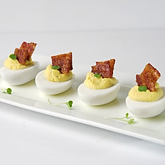 Deviled Eggs Topped with Candied Bacon