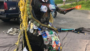 Lopez's Trash Mermaid made from Great Islands Clean Up litter!