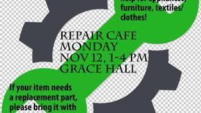 Free Repair Cafe on Monday, Nov. 12!