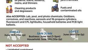 Household Hazardous Waste June 26, 11-2 pm