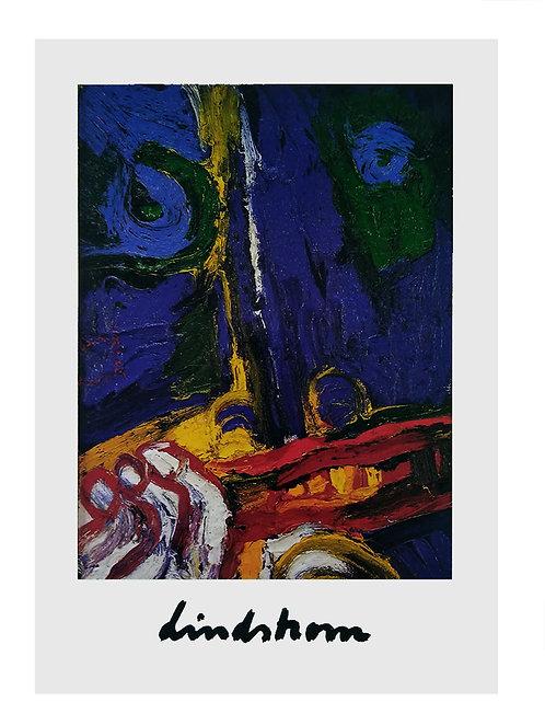 """Konstkort 5 st, A4, motiv """"Den blå blicken"""", 1970-talet"""
