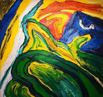"""Bengt Lindström Art Work """"Nordic Landscape""""  Oil painting 2 x 2 meters foto © Pekka Ronkainen"""