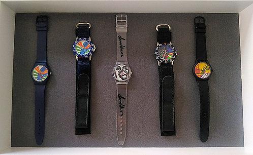 Bengt Lindström design, klocksamling med fem klockor, originalförpackning, samlarobjekt