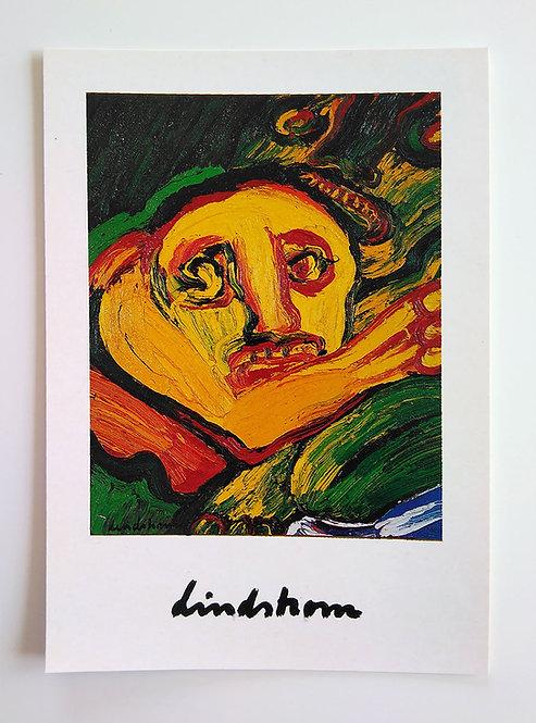"""Konstkort 5 st, A5, motiv """"Kvinna i Gult"""", 1974"""