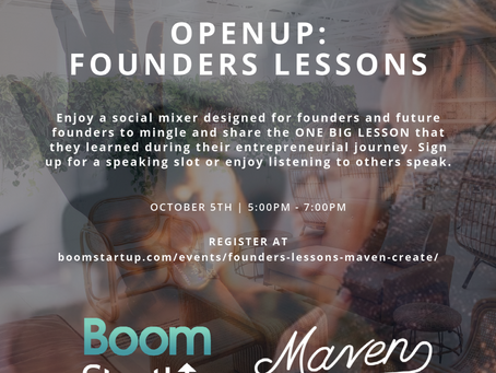 """BoomStartup & Maven Create hosting """"Founders Lessons"""""""
