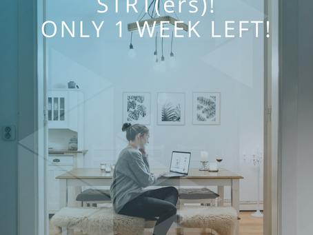 STRT(ers) only 1 week left!