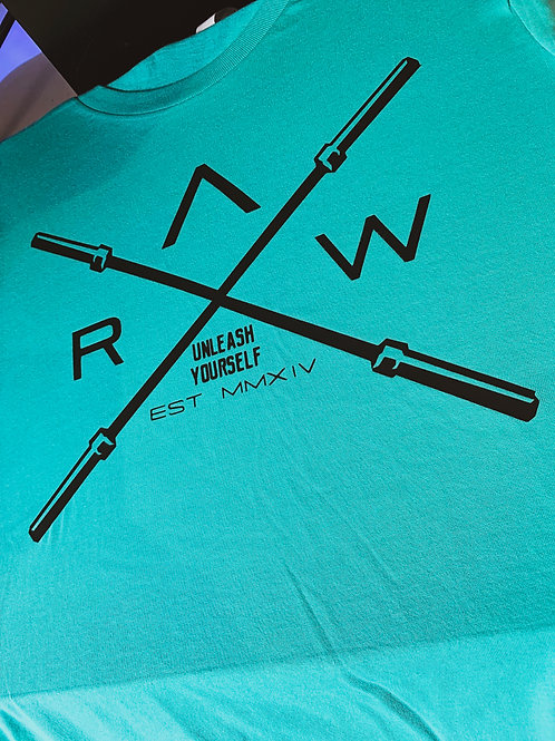 """COOL MINT """"RAW Barbell"""" Fitted T."""