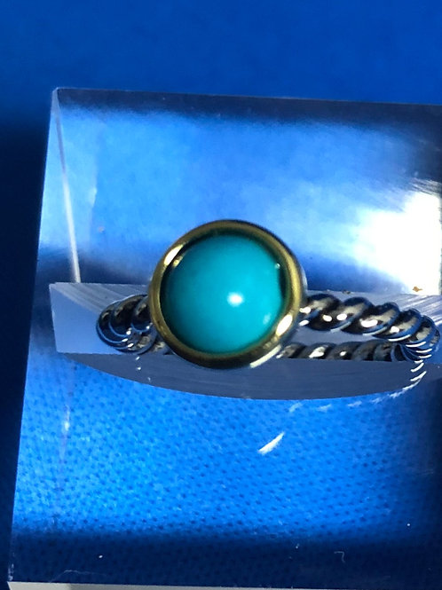 Duel Tone Turquoise Ring