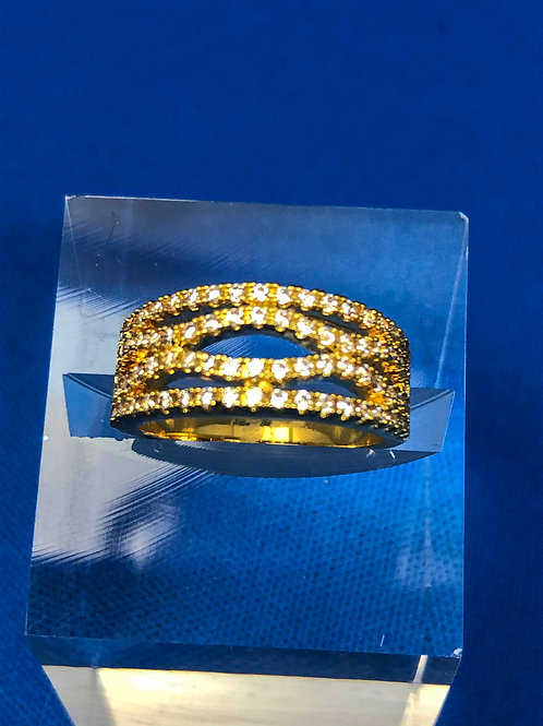 Gold 4 Row Pave Ring