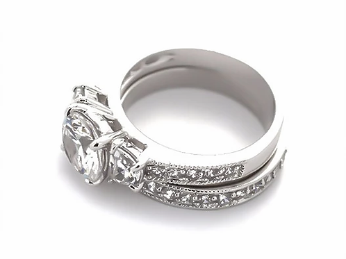 Tapered Baguette Solitaire Set (Two Rings)