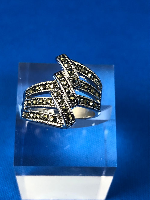 Triple Twist Marcasite Ring