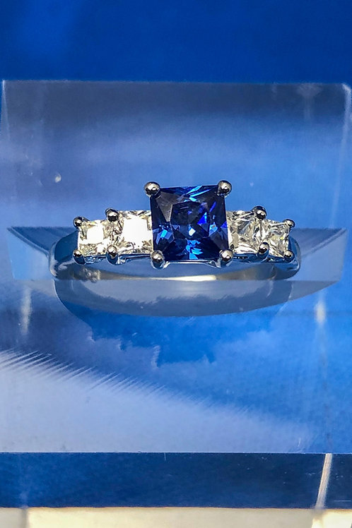 Five Stone Princess Sapphire Ring