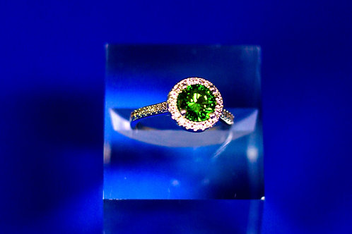 Round Halo Emerald Ring