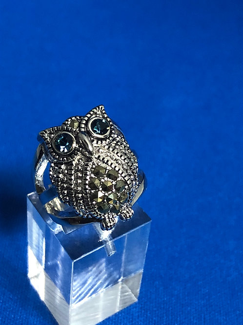 Large Marcasite Owl Ring