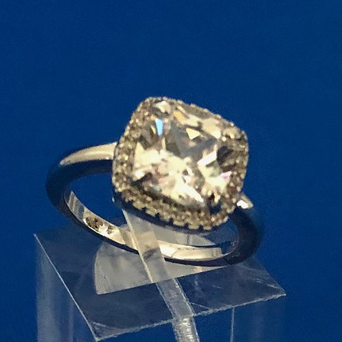 Halo Cushion Solitaire Ring