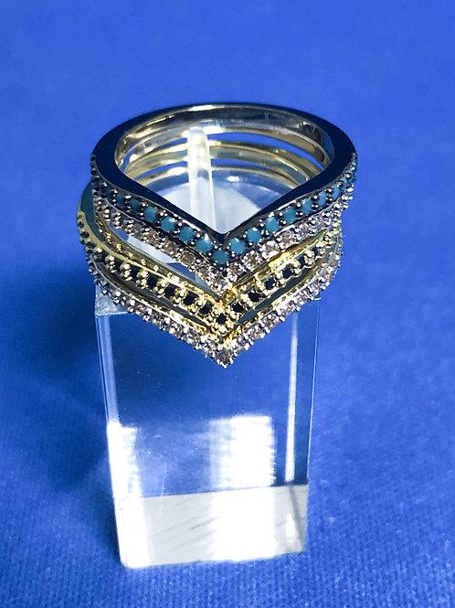 Stacked 'V' Ring