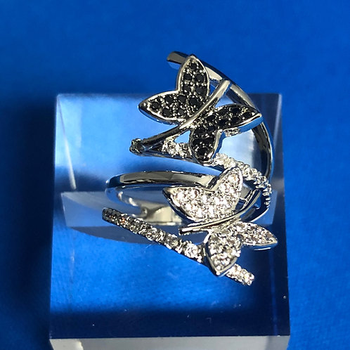 Black & White Butterfly Ring