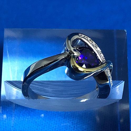Duel Tone Amethyst Heart Ring