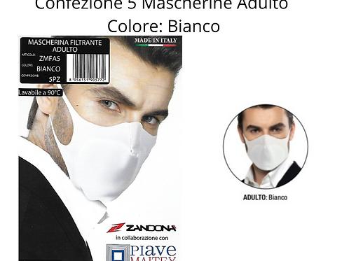 Confezione 5 Mascherine Lavabili - Adulto - Bianco