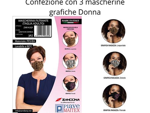 Confezione 3 Mascherine Lavabili - Grafiche Donna