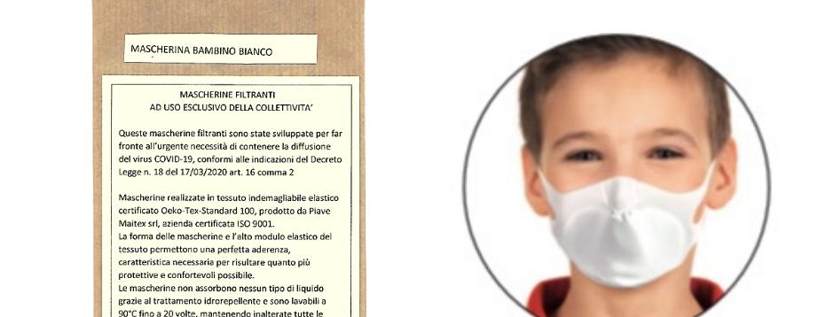 Confezione 1 Mascherina Lavabile - BAMBINO - BIANCO