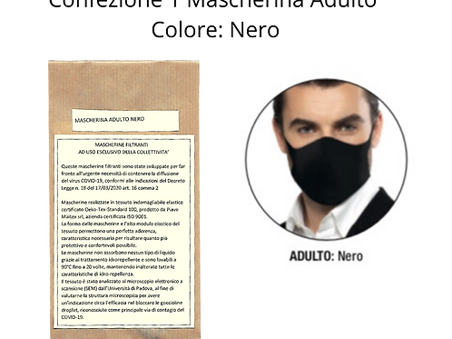 Confezione  1 Mascherina Lavabile - ADULTO - NERO